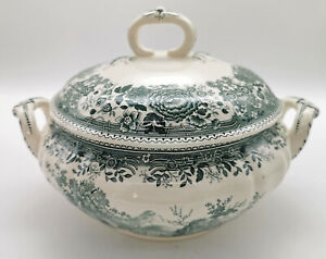 Villeroy & Boch Soup Tureen & Lid, Burgenland Green Scene and Flowers (a190)