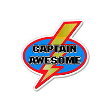 """Captain Awesome Funny car bumper sticker decal 4"""" x 4"""""""