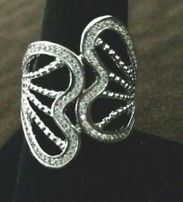 Fashion Jewelry Crystal Butterfly Statement Ring Size Large 7-9