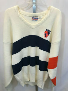Vintage Pro Line by Cliff Engle L/S White Blue Chicago Bears Sweater L  USA B15