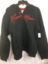 Minnie Mouse Disney Parks Hoodie Black Zip Up Sweatshirt with EARS Women's XXL