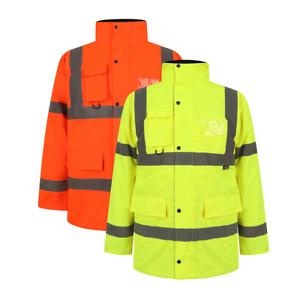 Workwear High Viz 3/4 Parker jackets Visibility Waterproof Coat Padded Jacket
