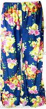 New Plus Size Womens Floral Print Ladies Wide Leg Palazzo Trousers Pants 10 - 26