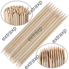100Pcs Nail Art Orange Wood Stick Cuticle Pusher Remover Manicure Polish Tool xp