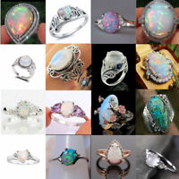 925 Silver Ring Women Men White Fire Opal Moonstone Sapphire Wedding Size 6-10