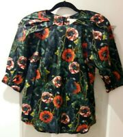 H&M Womens Floral Black Blouse Top Size 8-10 New