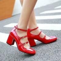 Women Chic Patent leather Mary Jane Block Heel Ankle Strap Buckle Party Shoes