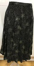 Ladies Marks & Spencer  Flared Black Floral Skirt Size 12 Length 30 Inches Lined
