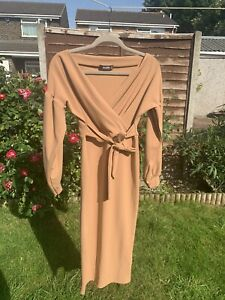 Missguided Camel Plunge Wrap Belted Midi Dress Wedding Guest Or Occasion