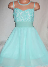 GIRLS MINT LACE CHIFFON CONTRAST SPECIAL OCCASION PRINCESS PARTY DRESS age 5-6