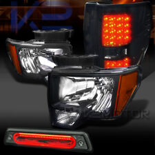 09-14 Ford F150 Black Headlights+Smoke LED Tail Lamps+Tinted LED 3rd Brake