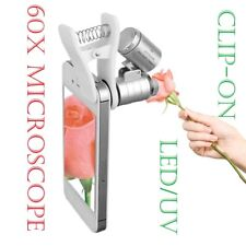 60X Clip-on Microscope Loupe avec DEL/UV Lights Pour Samsung S9 S8 S7 Caméra