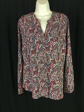 Laura Scott  Women's Size L Long Sleeve Paisley Button Up Blouse Tunic Blue Red