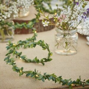 String light foilage garland decor by ginger ray in white CW-241