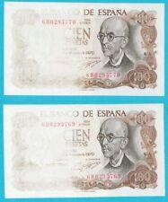 """PAREJA ERROR. 100 Pesetas año 1970 """"Manuel de Falla"""" serie 6B0293769-770. RARO."""