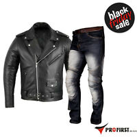 Motorbike Men Leather Brando Jacket Armoured Black Motorbike Racing Jeans Pant