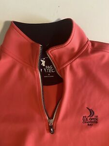 F & G Tech Golf Mens Small Pink 2015 U.S. Open Chambers Bay L/S 1/4 Zip Pullover