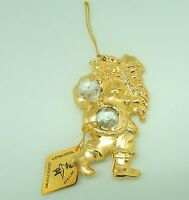 Ornament- Santa Claus-  Christmas- Austrian Crystals 24K gold plated-toy bag