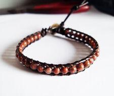 Jasper Bracelets,Stone bracelets,Red bracelets,Leather bracelets,mens bracelets