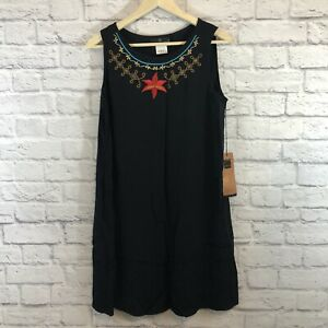 Carole Little 10 Dress Embroidered Shift Black Sleeveless NEW NWT Womens