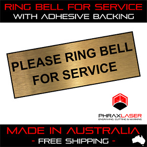 PLEASE RING BELL FOR SERVICE - GOLD SIGN - LABEL - PLAQUE w/Adhesive 8.5CMx3CM