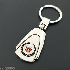Metal Key Chain Car Logo Pendant Keyfob Holder Silver Key Ring For Cadillac