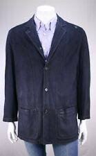 LORO PIANA Navy Blue Suede Leather Patch Pocket Blazer Jacket Eu 52 - US 42