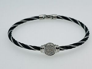 Charriol Authentic 18k White Gold Diamond & Black Steel Cable Station Bracelet
