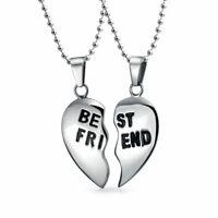 Best Friend Split Broken Heart Break Apart Stainless Steel Necklace