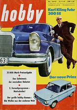 hobby 10/61 1961 Mercedes 300 SE Ferguson NSU Prinz 4 Opel Rekord Coupé P2 Agfa