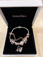 ❤️Pandora Bracelet Silver with Mom Charms 7.5 Inch/19 cm