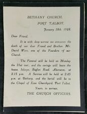 Memorial Card 1918- David Ware, 1 of the Founders Of Bethany Chapel, Port Talbot
