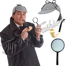SHERLOCK HOLMES FANCYDRESS DETECTIVE KIT DEERSTALKER HAT PIPE & MAGNIFYING GLASS
