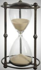 60 Minute Hourglass 1-Hour Sand Timer ~ Antique Black Metal & Glass Accent Decor