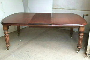 antique,victorian,mahogany,extending,wind out,dining table,turned legs,seat 8