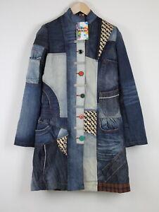 RRP€249 DESIGUAL ABRIG COLLAGE Women Colored Patch Denim Coat 20555*