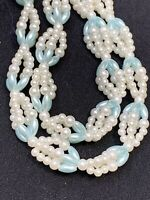 "Vintage white Pale Blue woven imitation pearl beaded Necklace Tassel 30"" Long"