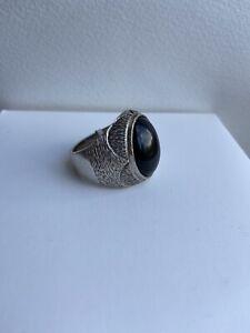 VTG Heavy Biker Men Ring Sterling Silver 925 Rocker Black Onxy Stone US SZ 11.5