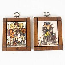 Hummel Prints on Wooden Wall Plaques Set of 2 School Children Vintage