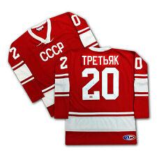 Vladislav Tretiak Russian Autographed Red CCCP Jersey