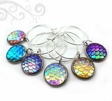 Set of 6 Dragon or Mermaid Scale Wine Glass Charms in Rainbow Colors Beach Theme
