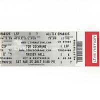 TOM COCHRANE & RED RIDER Concert Ticket Stub TORONTO 3/25/17 MASSEY HALL Rare