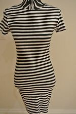 NWT.French connection navy/white color striped short sleeve pullover dress;2