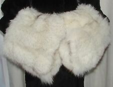VTG GIANT  PAIR OF  FLUFFY WHITE FOX  FUR COAT CUFFS  OR  LEG WARMER OR MUFFS