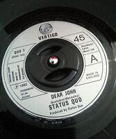 "Status Quo – Dear John Vinyl 7"" Single UK Vertigo QUO 7 1982 Classic Rock"