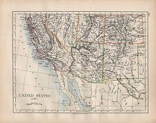 Estados Unidos 1902 mapa ~ South West California Arizona Nuevo México Utah Colorado