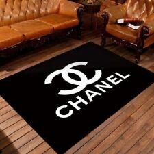 Chanel Fashion Brand Logo Black Living Room Area Carpet Living Room Rugs