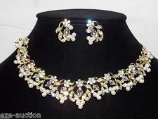 Bridal Gold Necklace & Earrings Set With Clear Crystal, Rhinestone and Pearl