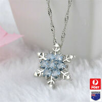 Blue Crystal Snowflake Pendant silver chain Frozen Necklace Flower Girl Gift