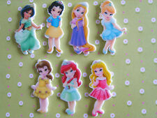 7 X Adorable Disney Little Princess Adorno De Resina Dorso duro para Libros Planar Cabello Moño